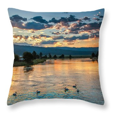 Sunrise On The North Payette River Throw Pillow by Robert Bales