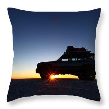 Sunrise On The Salar De Uyuni Throw Pillow