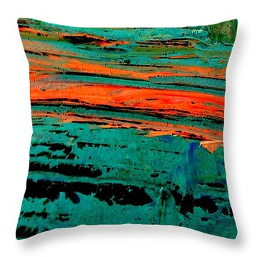 Throw Pillow featuring the painting Sunrise On The Water by Jacqueline McReynolds