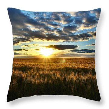 Sunrise On The Wheat Field Throw Pillow
