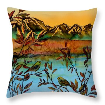 Sunrise On Willows Throw Pillow by Carolyn Doe