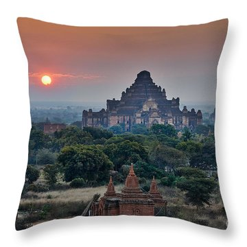 sunrise over Bagan Throw Pillow by Juergen Ritterbach