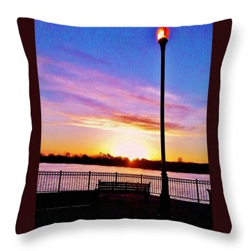 Throw Pillow featuring the photograph Sunrise Over Basf Park by Daniel Thompson