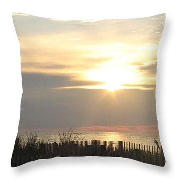 Sunrise Over Beach Dune Throw Pillow by Robert Banach