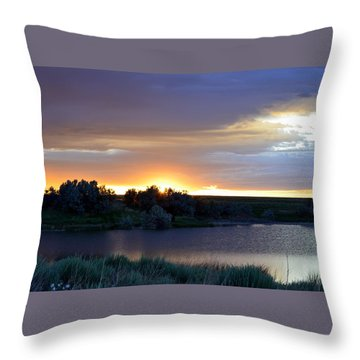 Throw Pillow featuring the photograph Sunrise Over Kinney Lake by Clarice  Lakota
