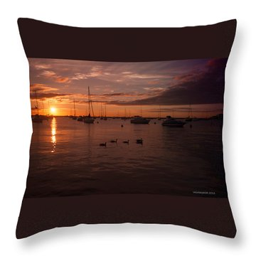 Sunrise Over Lake Michigan Throw Pillow by Miguel Winterpacht