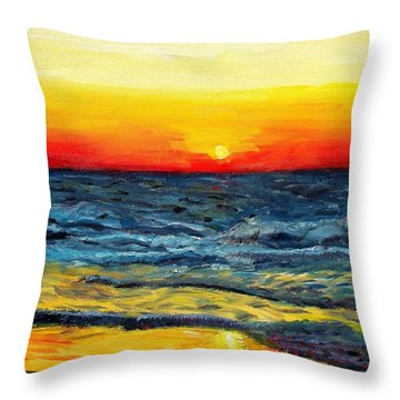 Throw Pillow featuring the painting Sunrise Over Paradise by Shana Rowe Jackson