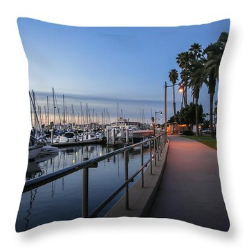 Sunrise Over Santa Barbara Marina Throw Pillow