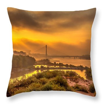 Throw Pillow featuring the photograph Sunrise Over Swiatokrzyski Bridge In Warsaw by Julis Simo