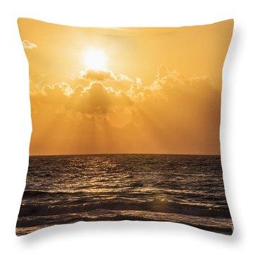 Sunrise Over The Caribbean Sea Throw Pillow