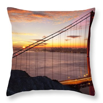 Throw Pillow featuring the photograph Sunrise Over The Golden Gate Bridge by Brian Jannsen