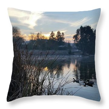Sunrise Over The Lake Throw Pillow