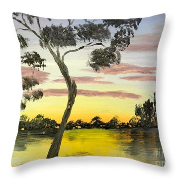Sunrise Over The Murray River At Lowson South Australia Throw Pillow