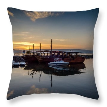 Sunrise Over The Sea Of Galilee Throw Pillow