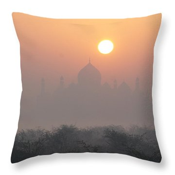 Sunrise Over The Taj Throw Pillow