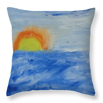 Throw Pillow featuring the painting Sunrise by PainterArtist FINs daughter