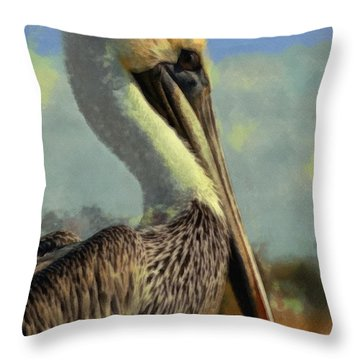Sunrise Pelican Throw Pillow by Ernie Echols