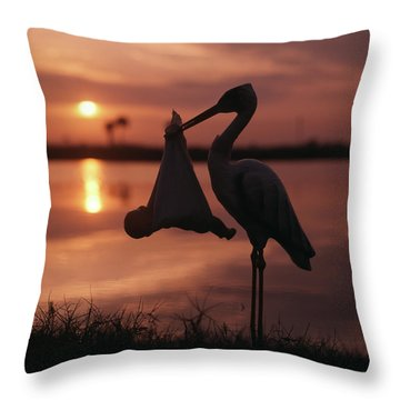 Sunrise Silhouette Of Stork Carrying Throw Pillow