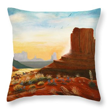 Sunrise Stampede Throw Pillow