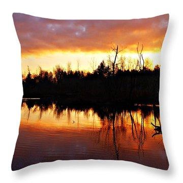 Sunrise Thanksgiving Morning Throw Pillow by Joe Faherty