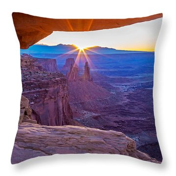 Sunrise Through Mesa Arch Throw Pillow