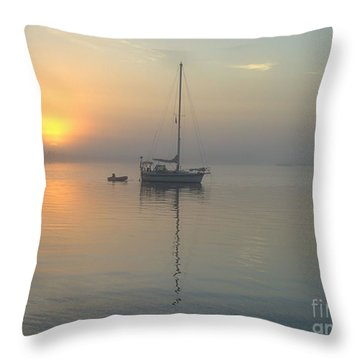 Sunrise Through The Fog Throw Pillow by Bob Sample