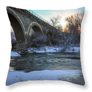 Throw Pillow featuring the photograph Sunrise Under The Bridge by Viviana  Nadowski