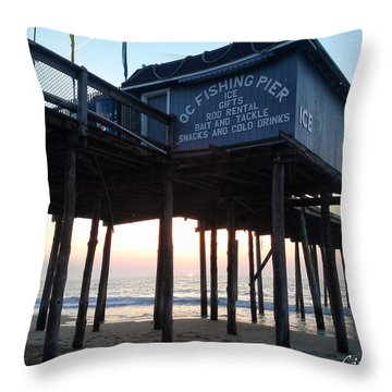 Sunrise Under The Oc Fishing Pier Throw Pillow