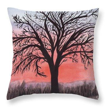 November Sunrise Walnut Tree Watercolor Throw Pillow