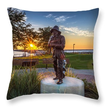 Sunrise With The Fisherman Throw Pillow by James  Meyer