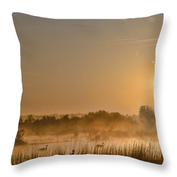 Sunrise With The Geese Throw Pillow