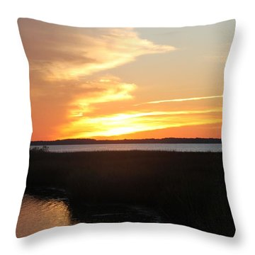 Throw Pillow featuring the photograph Sun's Cloudy Fire by Robert Banach