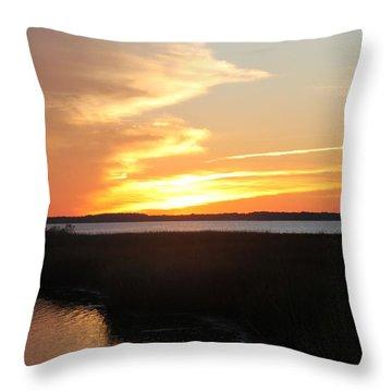 Sun's Cloudy Fire Throw Pillow by Robert Banach