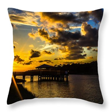 Throw Pillow featuring the photograph Sunscaped Pier by Tyson Kinnison