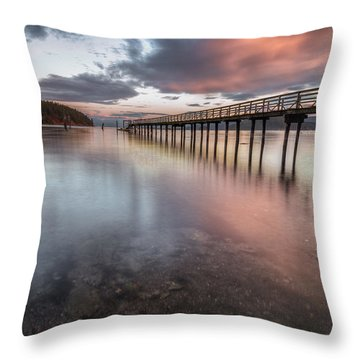 Sunset - Mayne Island Throw Pillow by Jacqui Boonstra