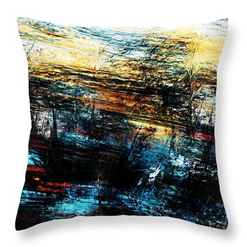 Throw Pillow featuring the digital art Sunset 083014 by David Lane