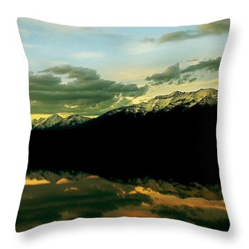 Sunset 1 Rainy Lake Throw Pillow
