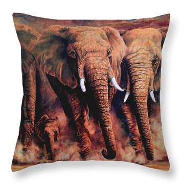 Sunset African Giants Throw Pillow by Ruanna Sion Shadd a'Dann'l Yoder