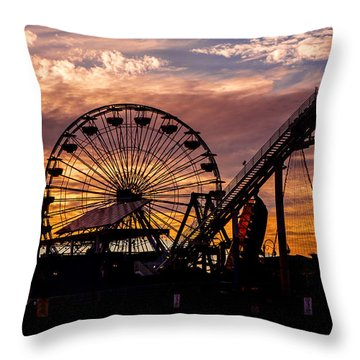 Sunset Amusement Park Farris Wheel On The Pier Fine Art Photography Print Throw Pillow by Jerry Cowart