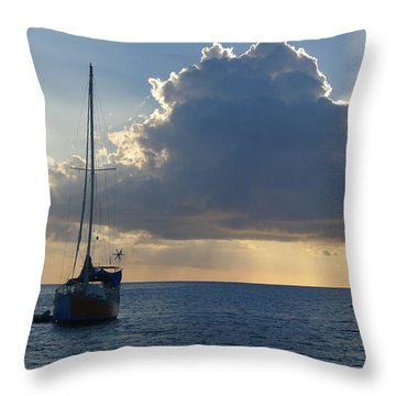 Sunset And Boats - St. Lucia Throw Pillow
