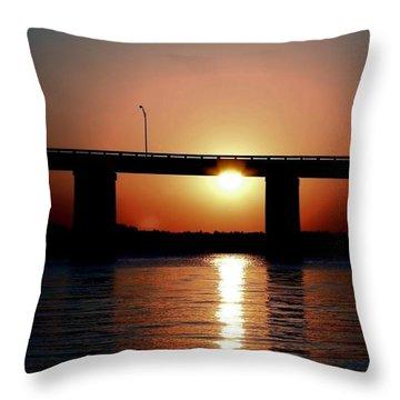 Sunset And Bridge Throw Pillow by Debra Forand