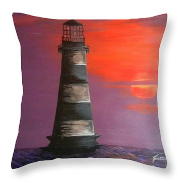 Sunset And Lighthouse Throw Pillow
