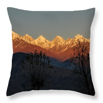 Sunset And Moonrise. The Rendezvous. Throw Pillow by Fotosas Photography