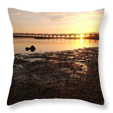 Sunset And Wooden Bridge In Ludo Throw Pillow