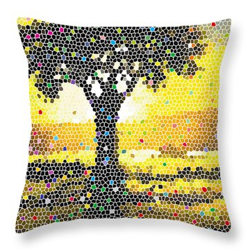 Throw Pillow featuring the painting Sunset Beauty by Anthony Mwangi