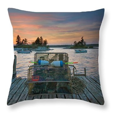 Sunset At Allen's Dock Throw Pillow