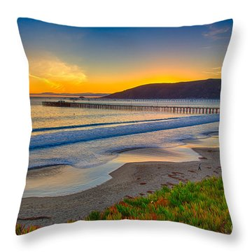 Sunset At Avila Beach Throw Pillow