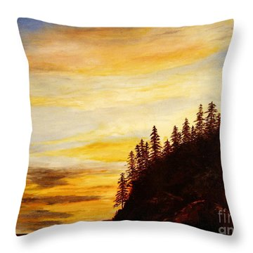 Throw Pillow featuring the painting Sunset At Bass Harbor by Lee Piper