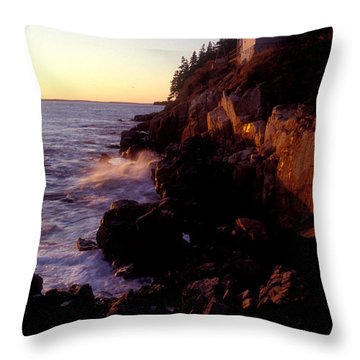 Sunset At Bass Harbor Lighthouse Throw Pillow by Brent L Ander