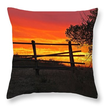 Sunset At Bear Butte Throw Pillow by Mary Carol Story